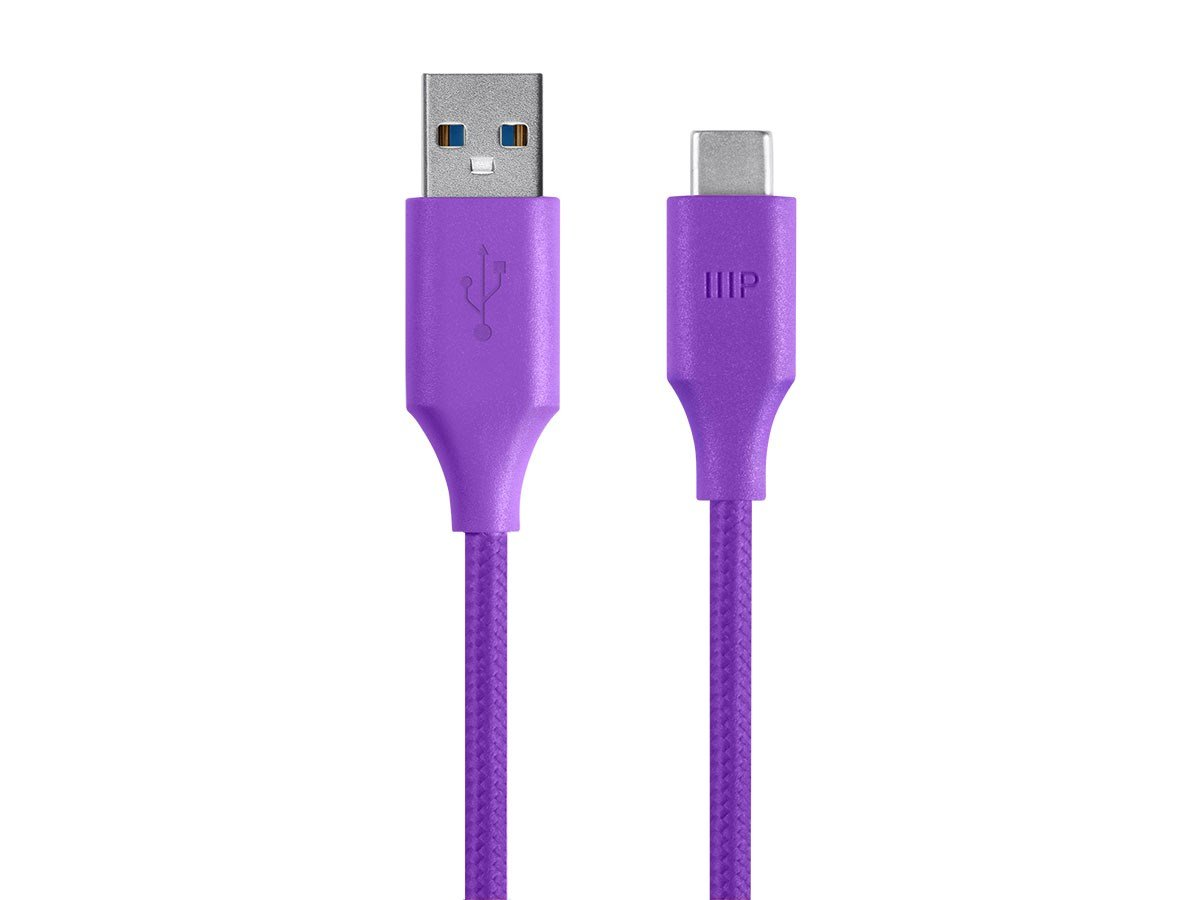 Monoprice Palette Series 3.0 USB-C to USB A Cable, 3ft Purple (115080)