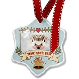 Add Your Own Custom Name, Low Poly zoo Animals Hedgehog Christmas Ornament NEONBLOND