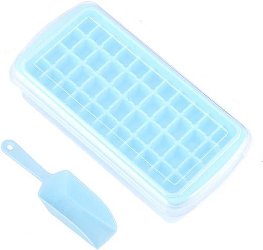 Bandeja para cubitos de hielo, bandeja para hielo con tapa, pala y ...