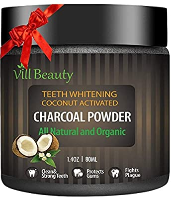 [2018 Upgraded] Teeth Whitening Powder, All Natural Coconut Activated Charcoal Teeth Powder for Stronger Healthy Teeth | Perfect Teeth Whitener with Safe & Pure Formula