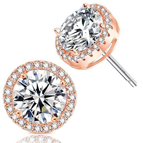 - 18K Rose Gold-Plated Cluster Round Cut Stud Earrings (1.66cttw)