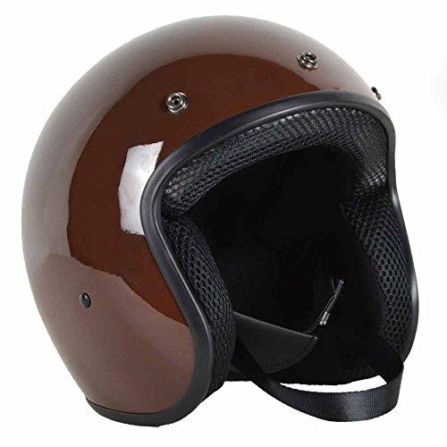 PGR B70 Retro Motorcycle Scooter Open Face Bobber Chopper Moped Rackus DOT Helmet Biltwell Bell 500 (Medium, Gloss Brown)