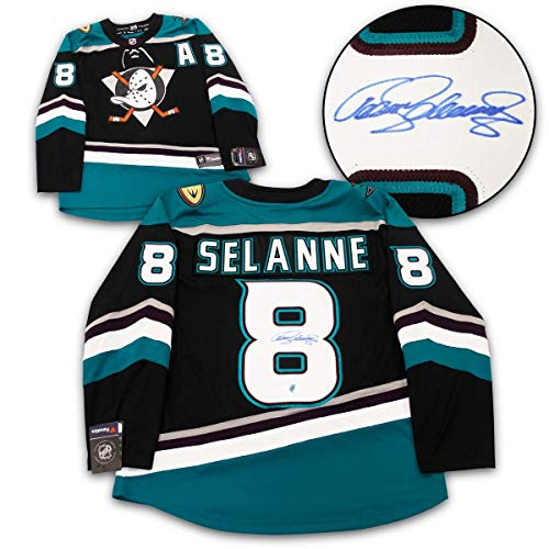 (Teemu Selanne Anaheim Ducks Autographed Mighty Ducks Fanatics Hockey Jersey)