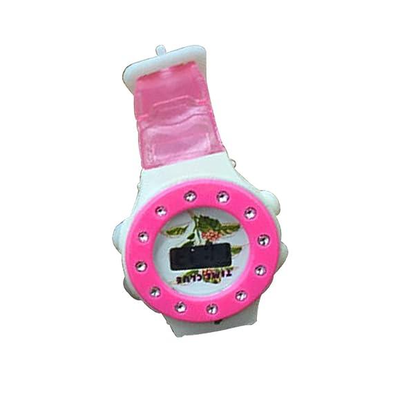 Los niños reloj deportivo digital dibujos animados Jelly cuarzo reloj (rosa)