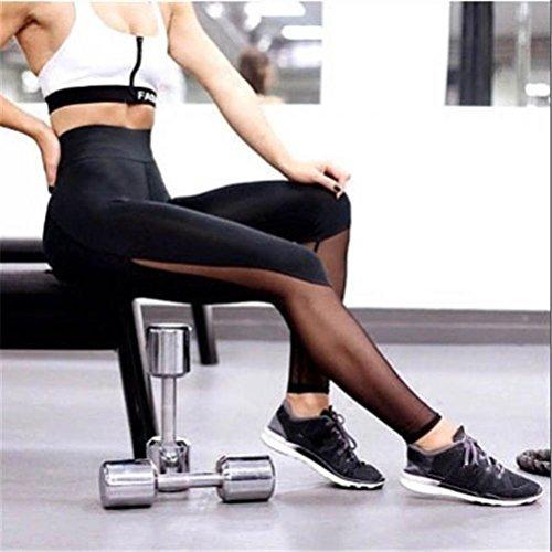 CYBERRY.M Women Fitness Leggings High Waist Mesh Patchwork Leggings Skinny Push Up Pants