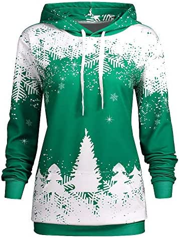 clearance sale!!ZEFOTIM Women Christmas Hooded Print Long Sleeve Sweatshirt Blouse