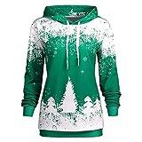 Wobuoke Fashion Women Merry Christmas Snowflake Printed Casual Tops High Neck Sweatshirt Blouse