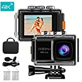 COOAU Action Camera Ultra HD 4K 20MP WiFi Sports Cam 170 Degree Wide-angle Lens 98ft Underwater Camcorder, EIS Sony Sensor, Audio Record, Free Travel Bag Includes mounting Accessories and 2Pcs Battery