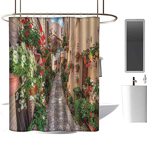 """TimBeve Camper Shower Curtain Tuscan,Sunset Skyline of Hong Kong Traditional Cruise Sailboat at Harbor Image Print,Orange Red Brown,Hand Drawing Effect Fabric Shower Curtains Odorless 47""""x64"""""""