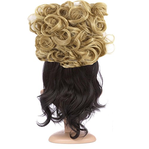 FOCUSSEXY Short Messy Curly Hair Scrunchie Bun Piece Up Do Drawstring Ponytail Hair Extensions Easy Strech Chignon Comb Clip