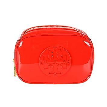 661e5ad3f46 Amazon.com   Tory Burch Classic Patent Logo Small Cosmetic Travel Case Bag  Poppy Red   Beauty