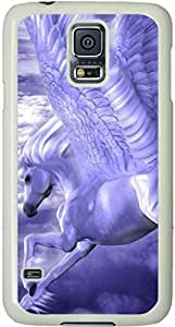 Galaxy S5 Case, Galaxy S5 Cases - Compatible With Samsung Galaxy S5 SV i9600 - Samsung Galaxy S5 Case Durable Protective Case for White Cover Animals Clouds Fantasy Horses Sky