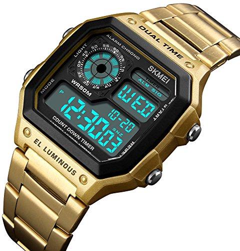 Mens Luxury Digital Quartz Waterproof Wrist Watches Dual Time Countdown Alarm Stopwatch Backlight Multi-Function Watch