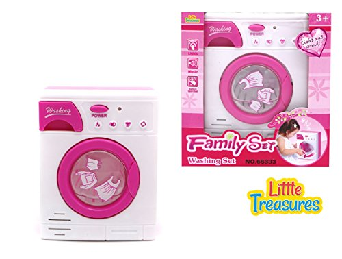 Little Treasures Baby Home Miniature Laundry Playset for Children - Mommy's Little Helper Pretend Play Washing Machine Cleaning Set