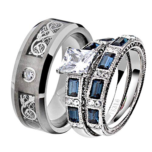 His and Hers Wedding Ring Sets Couple Ring Bridal Sets Women Stainless Steel Blue Princess Cut CZ Antique Design Men Tungsten Carbide CZ Solitaire Celtic Dragon Scroll Engagement Ring Band Set PV (Ring Scroll Antique)