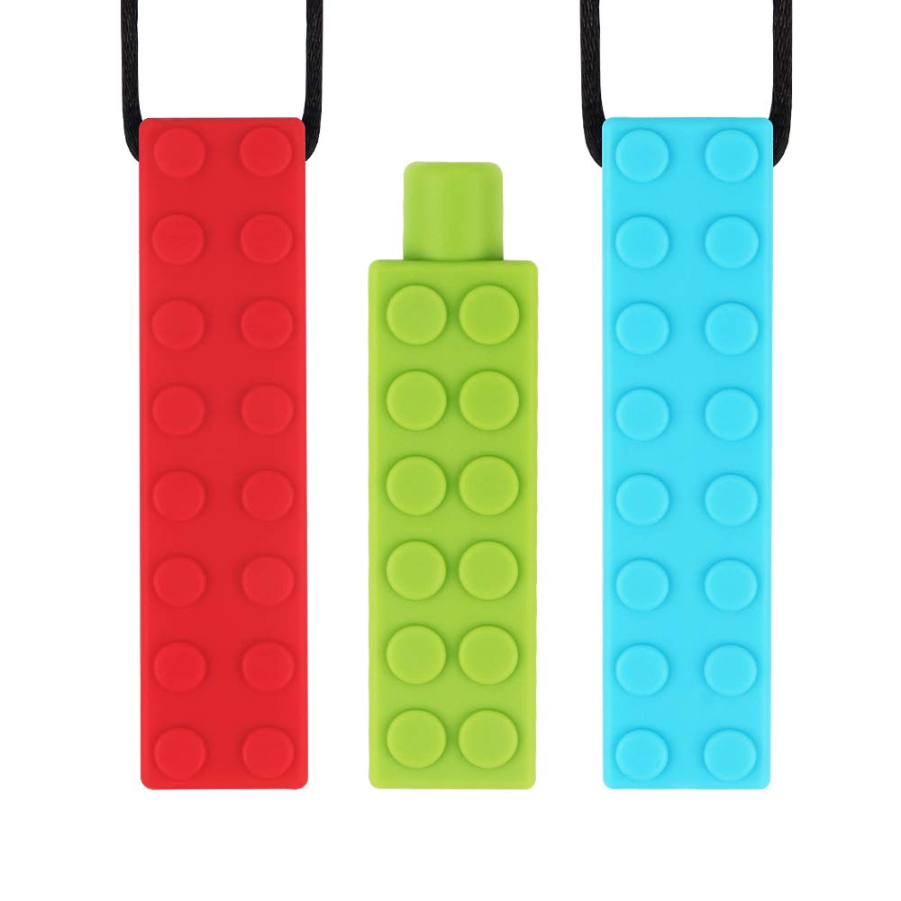 Sensory Chew Necklace with Bonus Pencil Topper TYRY.HU Set Teether Silicone Chewing Pendant Perfect for Autism ADHD SPD Oral Motor Teething & Biting Needs Tough and Long-Lasting (5 Packs)