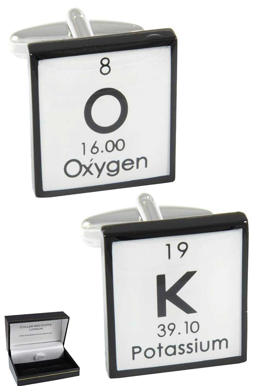 """COLLAR AND CUFFS LONDON - PREMIUM Cufflinks WITH GIFT BOX - """"OK"""" - Solid Brass - Periodic Table Chemical Symbols - Square - Black and White Colours"""