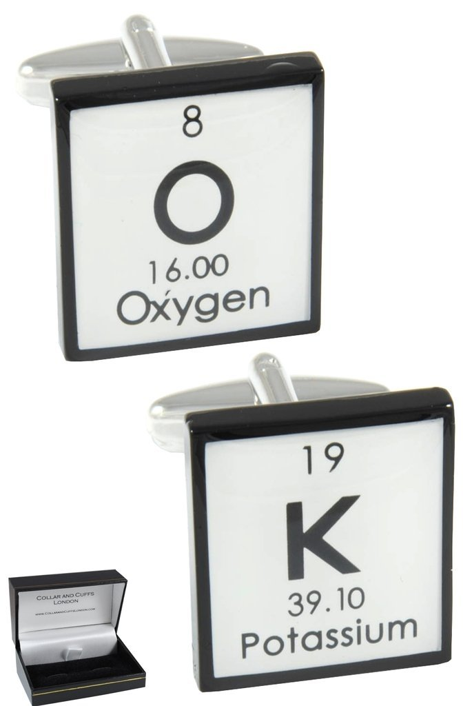 COLLAR AND CUFFS LONDON - Premium Cufflinks with Gift Box - OK - Solid Brass - Periodic Table Chemical Symbols - Square - Black and White Colours