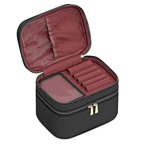 Makeup Organizer Soft Train Case Cosmetic Bag With Compartments For Make Up Brushes + Toiletries By: Sleeko