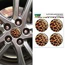 Leopard Animal Print Wheel Center Cap 3D Domed Stickers Badges - Set of 4
