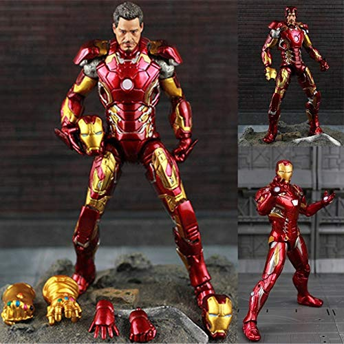 PAPIN Tony Stark Action Figure 8 inch Hot Toys Comic Legends Figures Christmas Halloween Mini Small Toy Birthday Collectable Gift Collectibles Big Large Collectible Gifts for Little Kids Baby Boys -