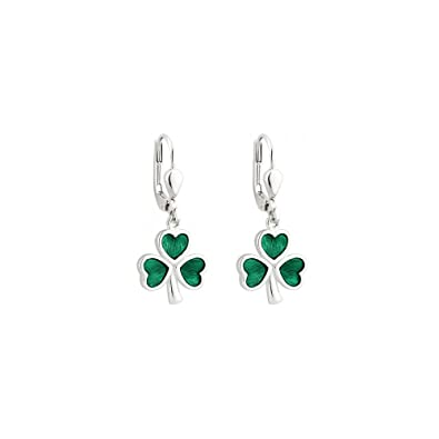 20e20eb11 Amazon.com: Failte Shamrock Earrings Sterling Silver & Enamel ...