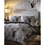 Tartan Stag Reversible Duvet Quilt Cover Bedding Set Grey - UK Double / CA Full