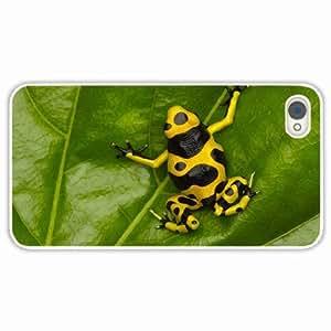 iPhone 4 4S Black Hardshell Case frog grass leaves White Desin Images Protector Back Cover
