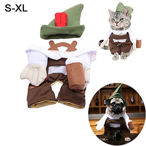 Unetox Pet Clothes Beer Waiter Cat Costume Hat