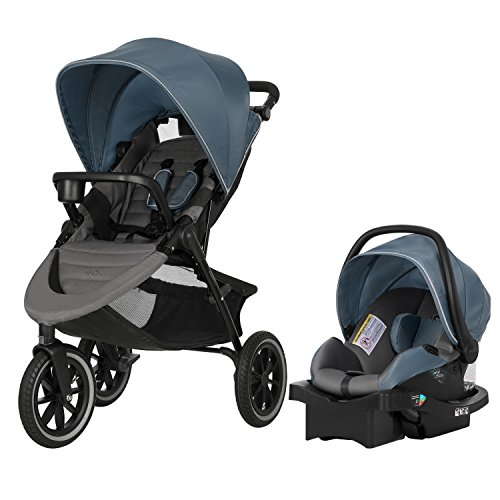 Best Review Of Evenflo Folio3 Stroll & Jog Travel System with LiteMax 35 Infant Car Seat, Skyline
