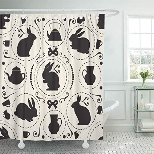 Emvency Shower Curtain Waterproof Decorative 72 x 78 inches Watercolor Bunny Vintage Pattern Rabbit and Teapot Wonderland Easter Set with Hooks Bathroom Curtain