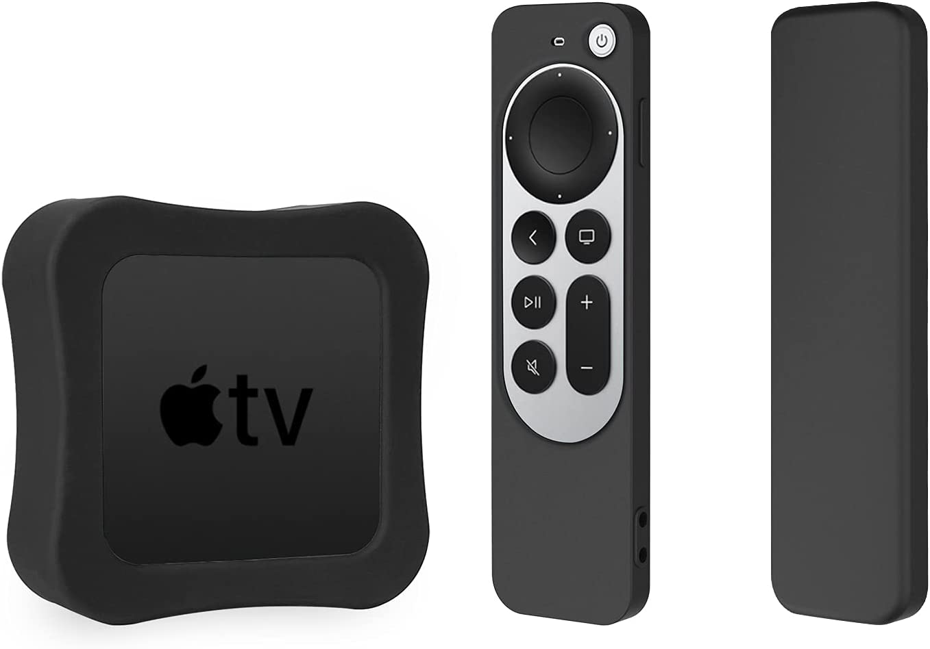Silicone Case for 2021 Apple TV 4K & Silicone Case for Siri Remote 2 Pack Protective Cover (Black)