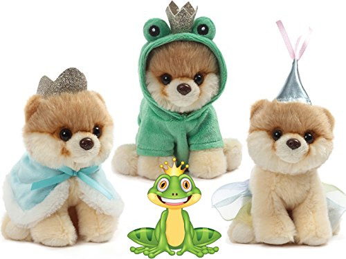 Gund The World's Cutest Dog Gund Itty Bitty Boos Prince #47, Princess #46 and Frog #48 Fairy Tale Magic Special Set of 3 Plush 5