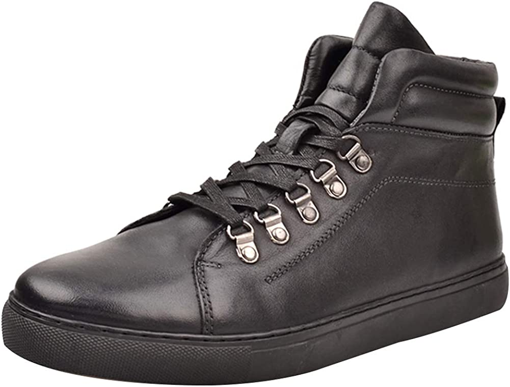 rismart Men's Leather Trainers Casual Boots Comfort High-Top Sneakers Black