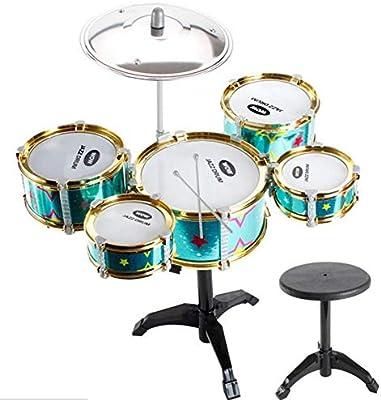 Tambor de los Niños Niños Percusión Grupo Instrumento Musical del Juguete 5 Tambores Pequeño Platillo con Heces Baquetas para Niños Niñas: Amazon.es: Hogar