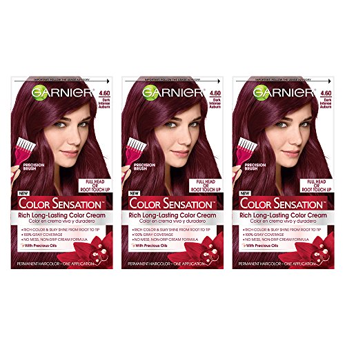 Garnier Color Sensation Hair Color Cream, 4.60 Cherry on Top (Dark Intense Auburn), 3 Count (Packaging May - Garnier Color Hair Auburn