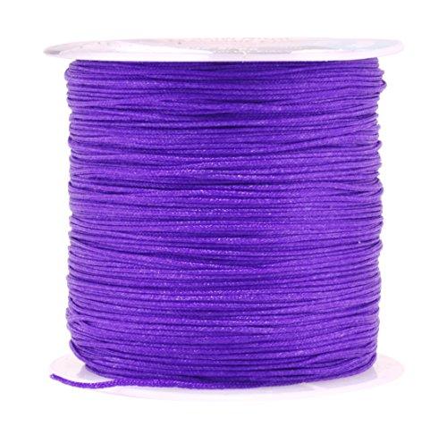 Purple Silk Thread Bracelet (Mandala Crafts 0.8mm 100M Satin Nylon Chinese Knot Rattail Macramé Beading Knotting Sewing Cord (Purple))