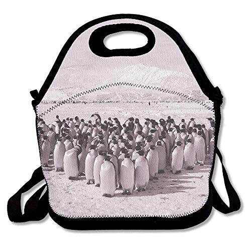 Neoprene Lunch Tote - Club Penguin Waterproof Reusable Lunch Bags Boxes For Men Women Adults Kids Toddler Nurses With Adjustable Shoulder Strap - Best Travel Bag