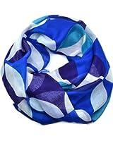 Echo Design Womens Bold Geometric Square Blue Scarf Wrap o/s