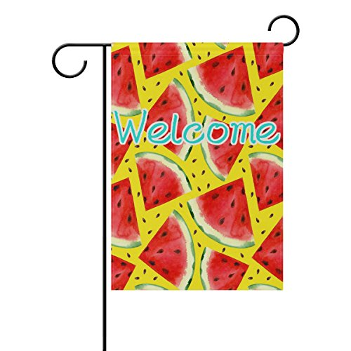 ALAZA Summer Theme Red Watermelon Fruit Polyester Garden Yar