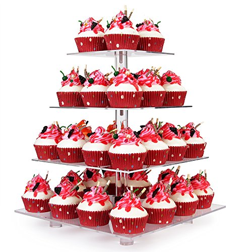 YestBuy 4 Tier Clear Wedding Party Acrylic Cupcake Display Tree Tower Stand 1 Unit (4 Tier Square with BASE)