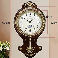 HCJGZ JCRNJSB European Style Antique Solid Wood Wall Clock Modern Creativity Pure Copper Fashion Living Room Mute Wall Swing Table Wall-mounted suspension Clocks Wall Clocks Quart (Color : #2)