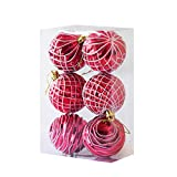 MoGist 6Pcs Christmas Bauble Ornaments, Shatterproof Christmas Tree Balls Decorations Themed Matching Stocking Xmas Hanging Decorations Centrepieces (Red-5.5CM)