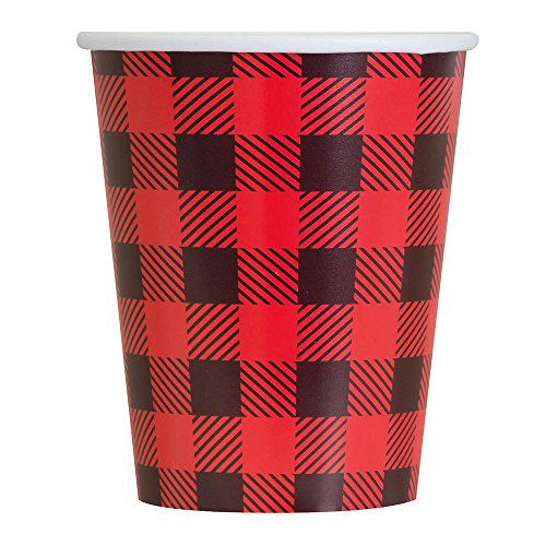 Sipping Cocoa - 9oz Buffalo Plaid Lumberjack Party Cups, 8ct