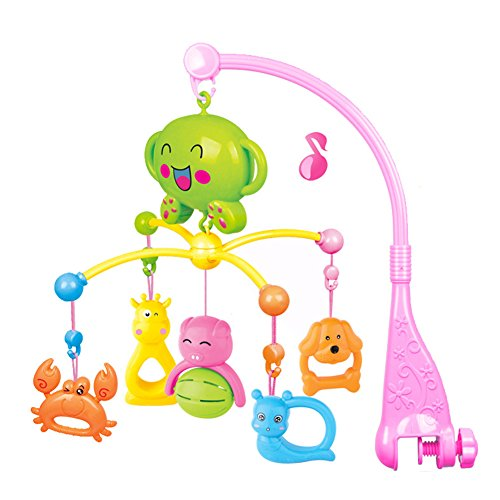 TOMNEW Musical Baby Mobile, Baby Infant Bedding Hanging Bells Animal Rotation Bells Toy, Music Box Holder Cartoon Animal Crib Cot Nursery Mobiles for Girls and Boys (Baby Cot Mobiles)