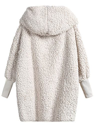 Faux Cream - SweatyRocks Women Khaki Hooded Dolman Sleeve Faux Fur Cardigan Coat For Winter Cream S