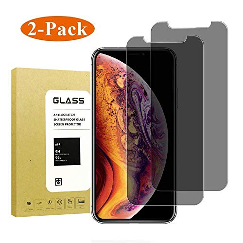 [2-Pack] for iPhone Xs Max Privacy Anti-Spy Screen Protector Full Coverage,Thierfy[9H Hardness][3D Touch][Anti-Scratch][Case Friendly] Tempered Glass Screen Protector for Apple iPhone Xs Max