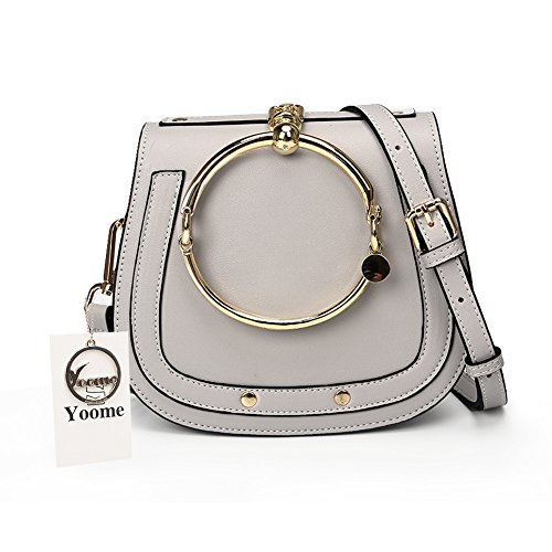 Yoome Women Punk Circular Ring Handle Handbags Small Round Purse Crossbody Bags For Girls - Grey by Yoome