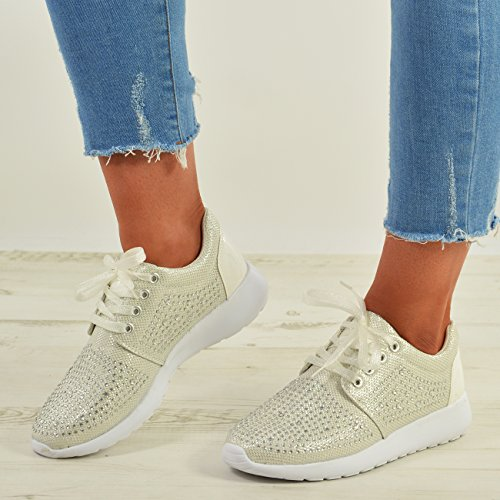Cucu Fashion New Womens Glitter Sparkle Studded Trainers Ladies Sneakers Lace Up Shoes Size White D8QlVTp
