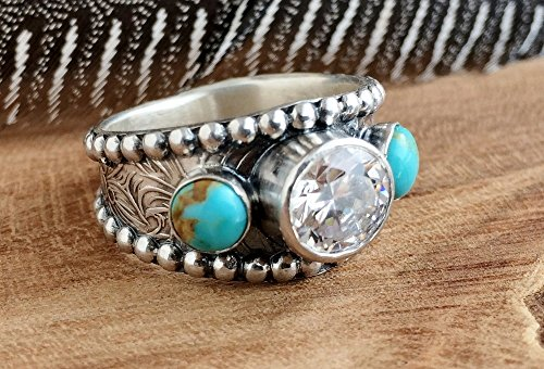 Turquoise Wedding Ring for women, Sterling Silver Turquoise Ring, Handmade Engagement Ring - Wedding Western Ring